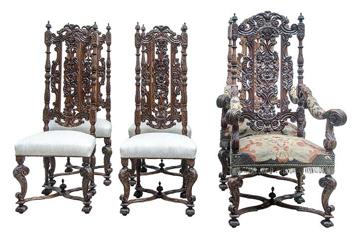 Ренессанс Набор из 6 стульев в стиле Ренессанс под заказ
